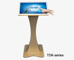 Touch screen kiosk\nTouch monitor/ all in one PC with gold base, Good appearance with exquisite base show their unique.